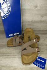 New ~ Birkenstock Women's Yao Balance Mocha Slide Sandals Size 7 / 38 Narrow Fit