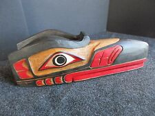 GROUP OF FOUR(4) NORTHWEST COAST CEREMONIAL ITEMS, HAND CARVED, PAINTED WY-00000