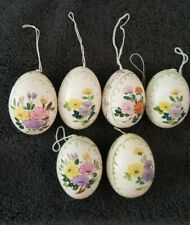 6 Mint Beautiful Unique Real Hand Painted Blowin Easter Egg ornaments w/ Flowers