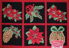 Christmas Poinsettia Hand Hooked Rug~Holiday Flower~Holly~Winter Pinecone~NEW!