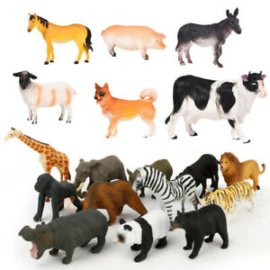 Large Farm Animals Plastic Toy Figures set of 6 Playset Educational Kid Gift Box