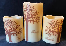 Set Of 3 Battery-Operated Candles With Trees And Faith, Family, Friends