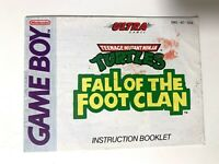 Turtles Fall of the Foot Clan Original Nintendo Gameboy Instruction Manual Only