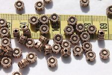 50pcs/ 6mm Tibetan Style Daisy Spacer Metal Nickel Free Antique Copper Beads