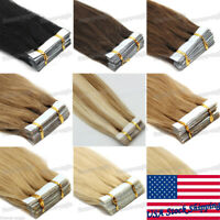 Seamless Tape in Hair Extensions Skin Weft Remy Human Hair Straight Highlight 7A