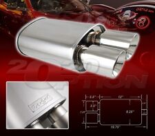 DUAL DOUBLE-WALL SLANT TIP MUFFLER OVAL SPUN-LOCK TANK FOR ACURA DODGE POLISHED
