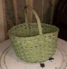 Rare Anitique Oak Primative Wicker Basket witg original 1800' Green Paint Rare