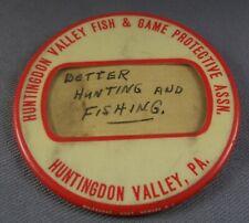 Huntingdon Valley Fish & Game Pennsylvania Pa Button Pin Ariel Gunther 1938