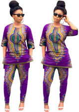 Casual Womens Dashiki African Hippie Tribal Top Pants Suits Shirt Trousers Party