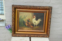 Flanders HENRY SCHOUTEN signed chicken rooster oil on canvas painting