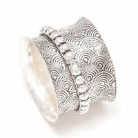 Solid 925 Sterling Silver Wide Band Spinner Ring Jewelry Handmade All Size B-178