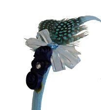 Light Blue Feathers & Navy Roses Headband Girls Tween Teen Handmade New