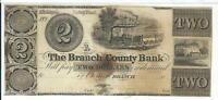$2 Michigan Branch County Bank 18XX  Safety Fund Old Train Dock