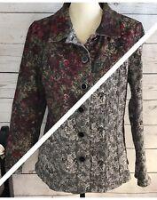 Christopher & Banks Large L Reversible Floral Textured Button Front Jacket