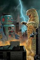 Catzilla vs Robot Print  Poster (24x36)