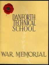 DANFORTH TECHNICAL SCHOOL WAR MEMORIAL Toronto 1948 Dedication Program Book