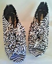 CHARLOTTE RUSSE ANIMAL PRINT RUFFLE FABRIC HIGH HEEL OPEN TOE SHOES SIZE 8