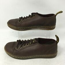 Dr Doc Martens Samira AW004 Brown Leather Flats Casual Shoes Lace Up Womens 5