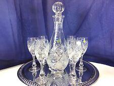 Crystal Set of 1+6 Russian Cut 25 oz Wine Vodka  Decanter + 2 oz  Glasses NEMAN