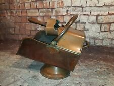 Beautiful Antique Arts and Crafts Copper Helmet Coal Scuttle With Shovel