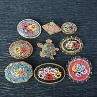 1 Vintage Micro Mosaic Italian Floral Turtle Brooch Pin / Your Choice of 1