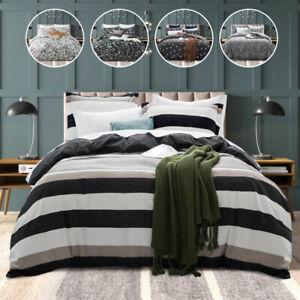 Modern 3Pcs Microfiber Duvet Cover Pillowcase Quilt Bedding Set Double King Size