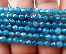 "Natural 4mm Faceted Apatite Round Loose Beads Gemstone 15""AAA"