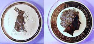 10 oz 1999 Perth Lunar One RABBIT Silver Coin