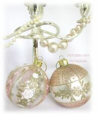 GISELA GRAHAM Christmas glass baubles pearl, rose gold & white beautiful vintage