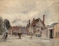 BOXMOOR HERTFORDSHIRE LANDSCAPE Antique Watercolour Painting c1930 IMPRESSIONIST