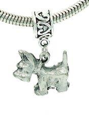 Westie Terrier Dog Charm on Heartprint Slider for Bracelet or Necklace