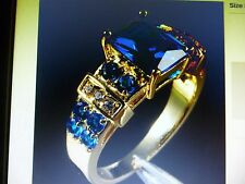 Size 11.5 - 10KT Yellow Gold Filled - 6 ct Blue Tanzanite Ring