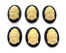 6 Ivory color Buddah Buddha on Black 40mm x 30mm Costume Jewelry Crafts Cameos