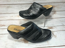 Naot Womens 38 US 7 Beyond Clog Black Leather Slip On Open Back Heel Mules Shoes
