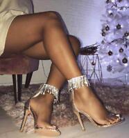 Women's Rhinestones Tassels Stilettos Sexy Open Toe Sandals High Heel Shoes