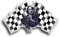 Grim REAPER Muerte Diseño con motivo bandera a cuadros Vinilo Pegatina de Coche 130x80mm