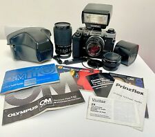 Olympus OM10 35mm SLR camera kit with 2x lenses & accessories UK BIDDERS ONLY