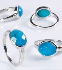 Ring Türkis oval facettiert 925er Sterling Silber rhodiniert