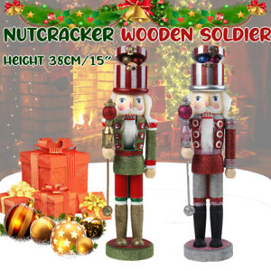 38cm Deluxe Traditional Wooden Nutcracker Soldier Decoration Christmas