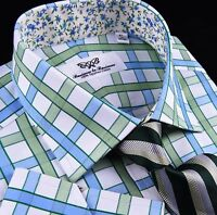 Green Blue Checkered Herringbone Formal Business Dress Shirt Luxury Sexy Floral