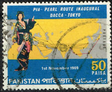 Pakistan Map Dacca to Tokyo Perl Rout stamp 1969