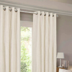 CREAM CORD RING TOP CURTAINS