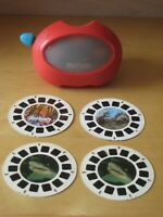 Vintage Red Viewmaster 3D View-Master Viewer + 4 Reels