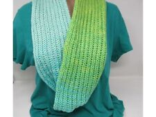 Handcrafted Knitted Cowl Shawl Wrap Teal/Green Merino Cashmere Female Adult
