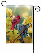 "12.5"" x 18"" GRAPEVINE CARDINAL ON FENCE Autumn Fall Small Decorative Banner Flag"