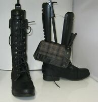 "NEW Black 1.5"" Low Block Heel Combat Lace Sexy  Mid-Calf Boots Size 9"