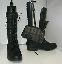"""Black 1.5"""" Low Block Heel Combat Lace Sexy Faux Leather Mid-Calf Boots Size 7.5"""