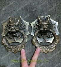 A Pair Vintage Chinese Bronze Foo Dogs lion Door Knocker