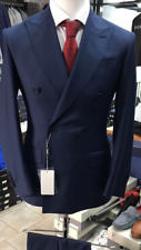Navy elegant double breasted super 150 Cerrutti wool suit-made in Italy