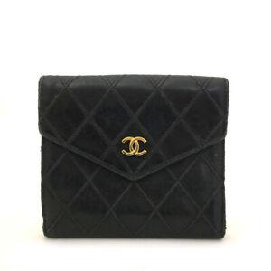 CHANEL Bicolore Quilted Matelasse CC Logo Black Lambskin Bifold Wallet /6282D